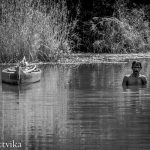 Clam fisherman dives and stays underwater no less than 3 minutes at a time, Vembanad Lake, Kerala